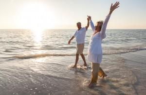 retired couple, happy couple, beach