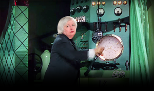 Fed Chair Janet Yellen's face over the Wizard of Oz behind the curtain